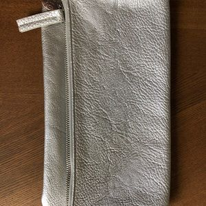 Silver vegan leather clutch with zipper